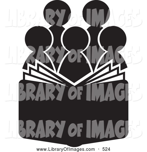 Clip Art of a Group of Silhouetted Choir or Church Members Behind an Open Book or Bible or Hymnal