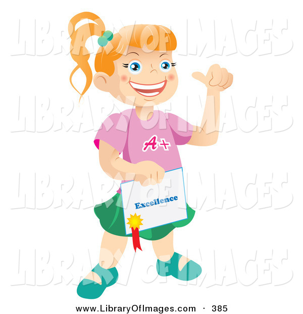 Clip Art of a Happy and Proud Bright School Child Holding a Certificate of Excellence from Her Teacher