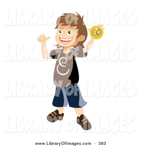 Clip Art of a Happy and Proud School Boy Holding up and Showing off His First Place Ribbon After Winning a Contest