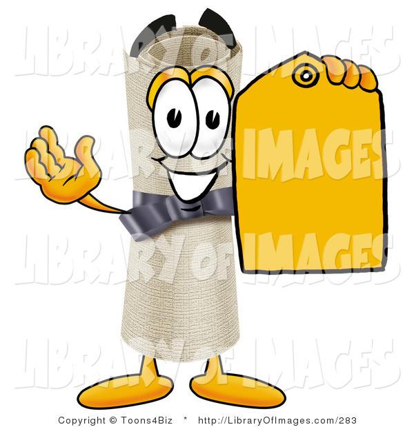 Clip Art of a Happy and Smiling Diploma Mascot Cartoon Character Holding a Yellow Sales Price Tag