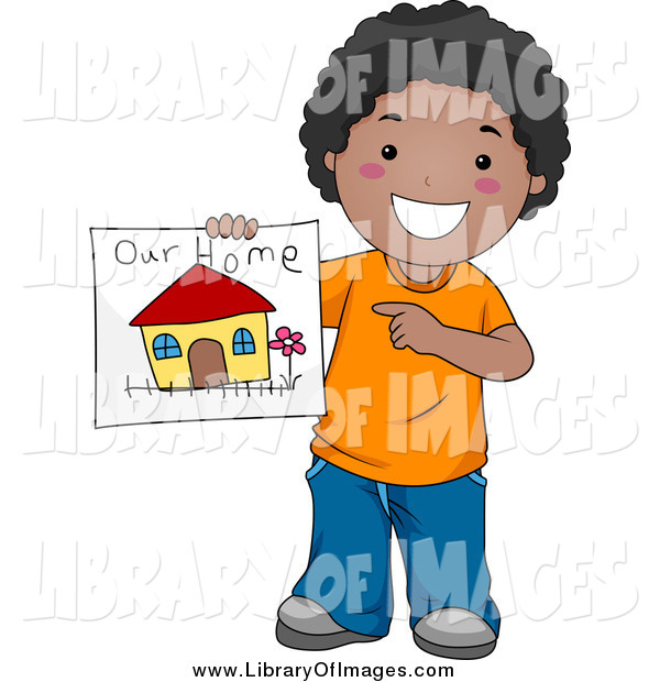 Clip Art of a Happy Black Boy Holding a Drawing of His Family Home