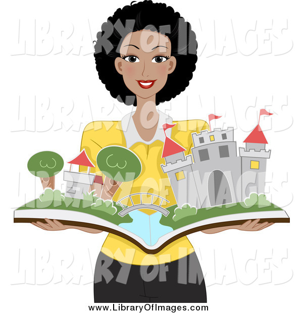 Clip Art of a Happy Black Woman Holding a Pop up Castle Book
