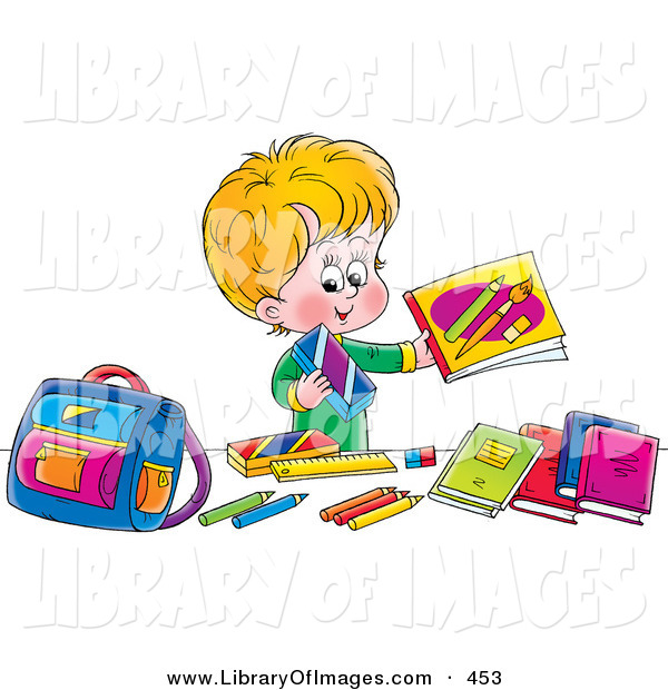 Clip Art of a Happy Blond Boy Holding up His Bright Colorful School Supplies