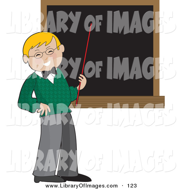 Clip Art of a Happy Blond School Teacher Boy in a Green Sweater, Holding a Red Pointer Stick up to a Blank Blackboard in a Classroom