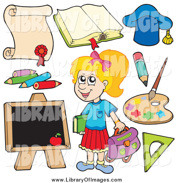 Clip Art of a Happy Blond White School Girl and Items