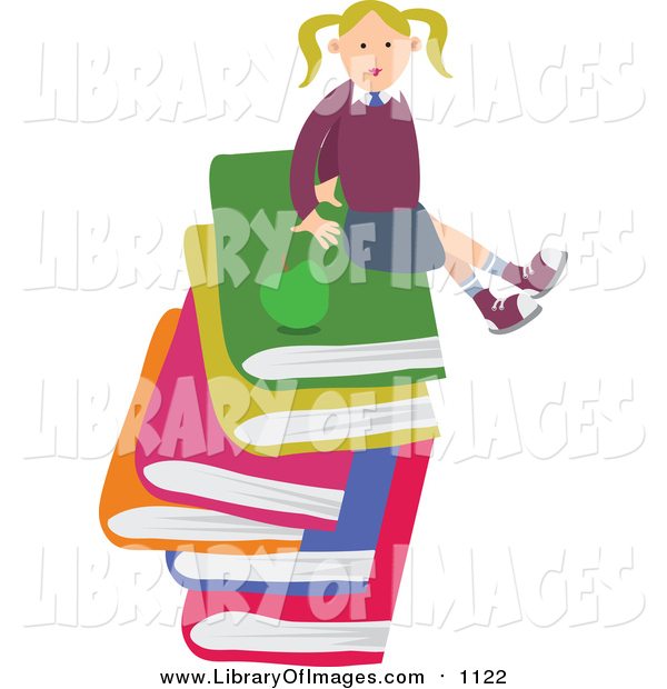 Clip Art of a Happy Blond White School Girl Sitting on a Stack of Large Books
