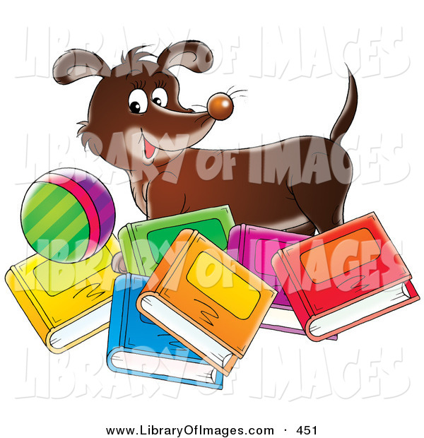 Clip Art of a Happy Brown Dog Standing with a Ball, Behind Bright Colorful Books