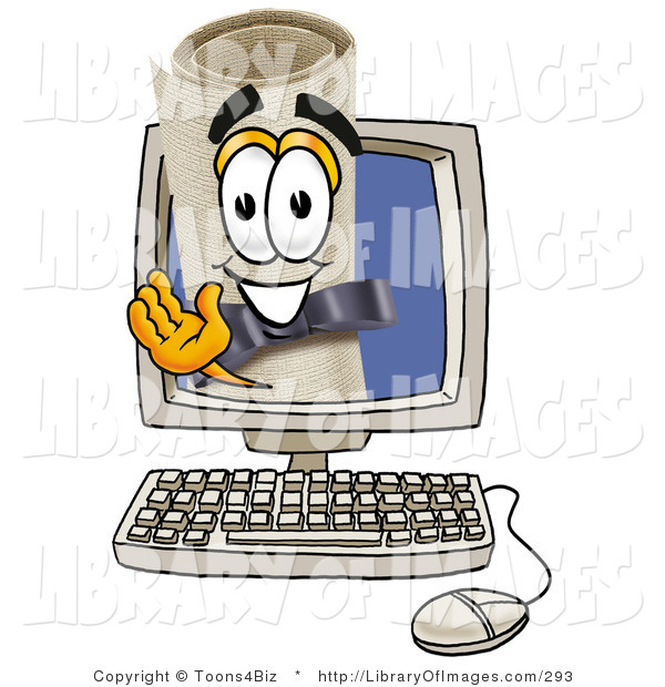 Clip Art of a Happy Diploma Mascot Cartoon Character Waving from Inside a Computer Screen