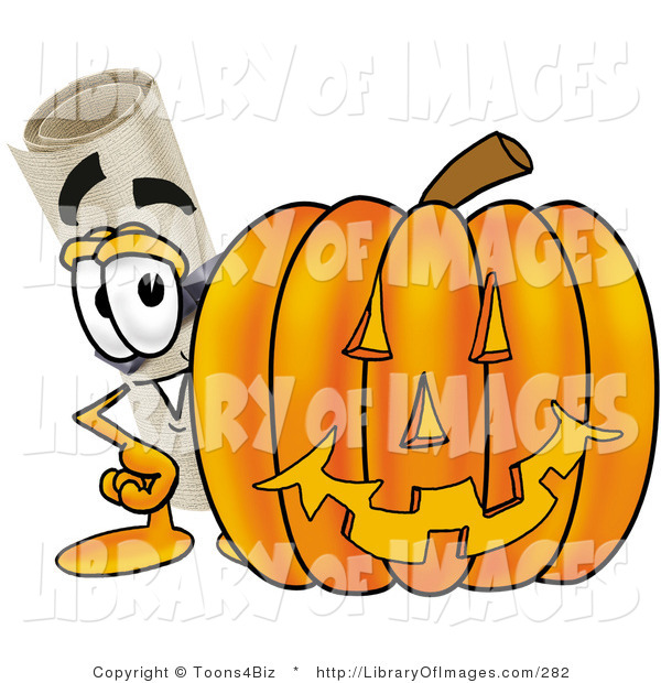 Clip Art of a Happy Diploma Mascot Cartoon Character with a Carved Halloween Pumpkin