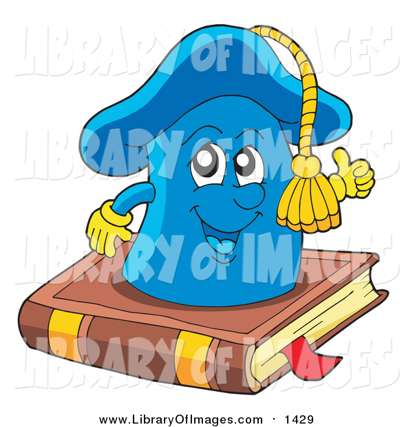 Clip Art of a Happy Graduation Mortar Board Cap on a Book