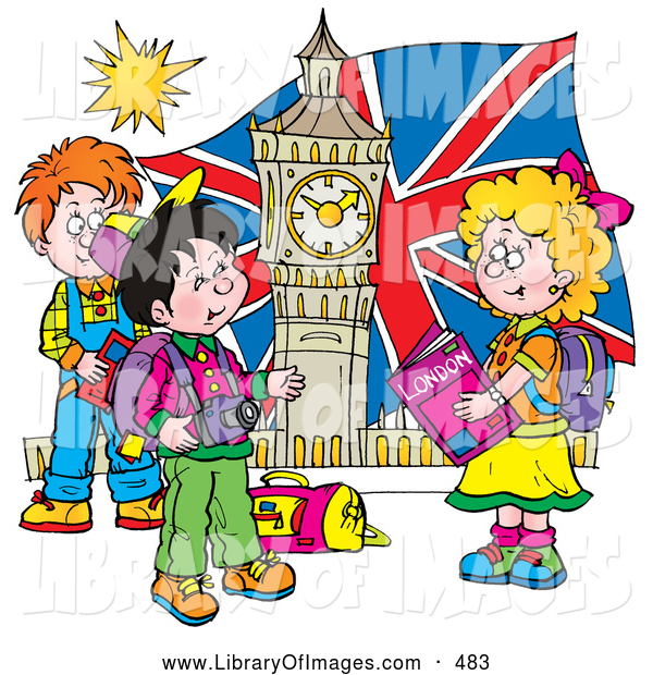 Clip Art of a Happy Group of Children Touring London, Admiring Big Ben