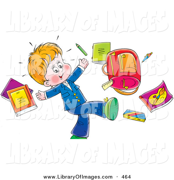 Clip Art of a Happy Little Boy Tossing His School Supplies into the Air on White
