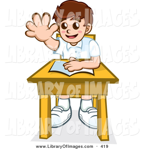 Clip Art of a Happy Little School Boy Sitting at His Desk with a Book and Raising His Hand to Ask or Answer a Question