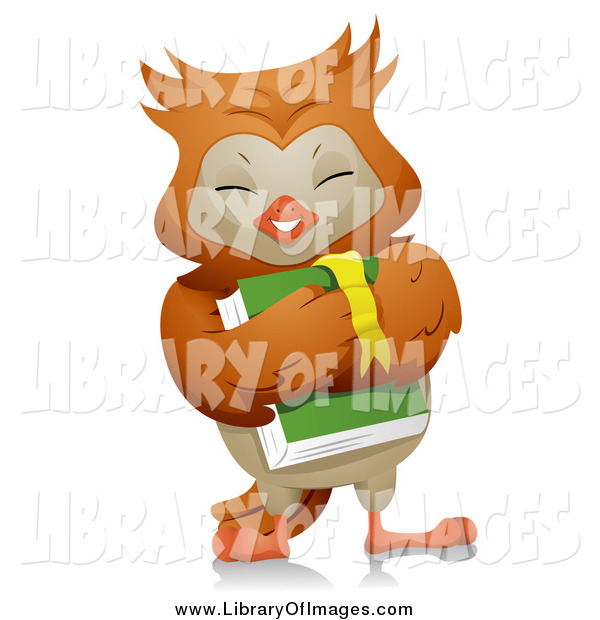 Clip Art of a Happy Owl Student Carrying a Book
