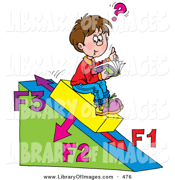 Clip Art of a Happy School Boy Sitting on a Slanted Triangle, Doing His Math Homework