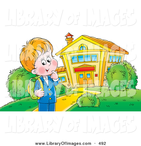 Clip Art of a Happy School Boy Standing Outside a School Building