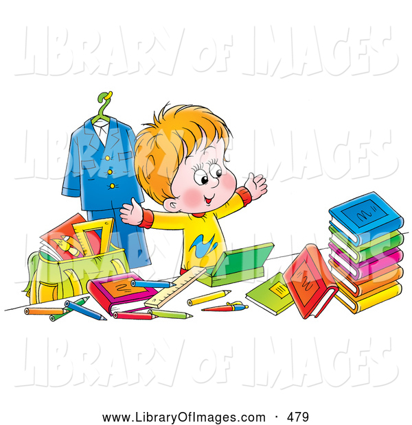 Clip Art of a Happy School Boy Surrounded by His School Stuff on White