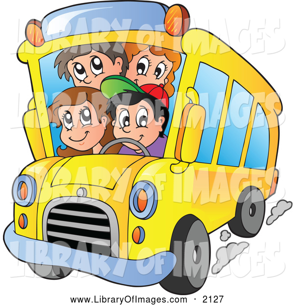 Clip Art of a Happy School Kids on a Bus