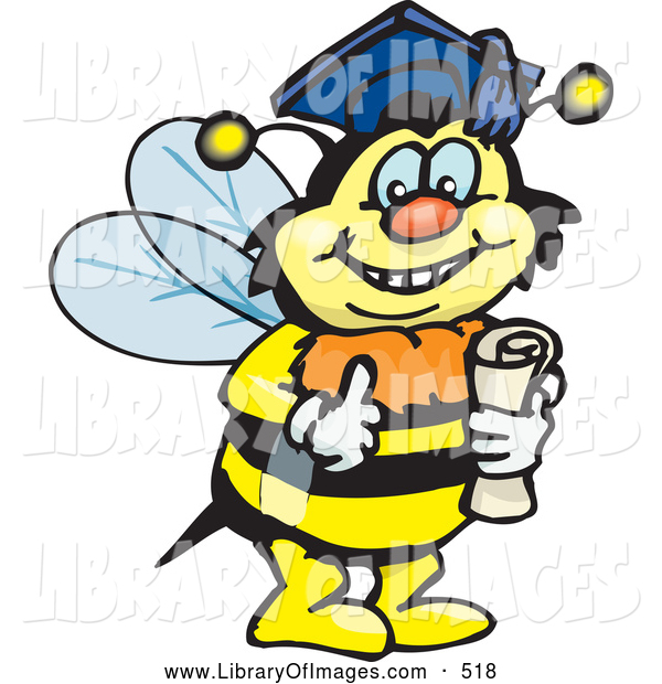 Clip Art of a Happy Smart Bumble Bee Character Wearing a Graduation Cap and Holding a Diploma