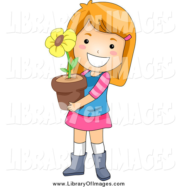 Clip Art of a Happy White Red Haired Girl Holding a Potted Flower