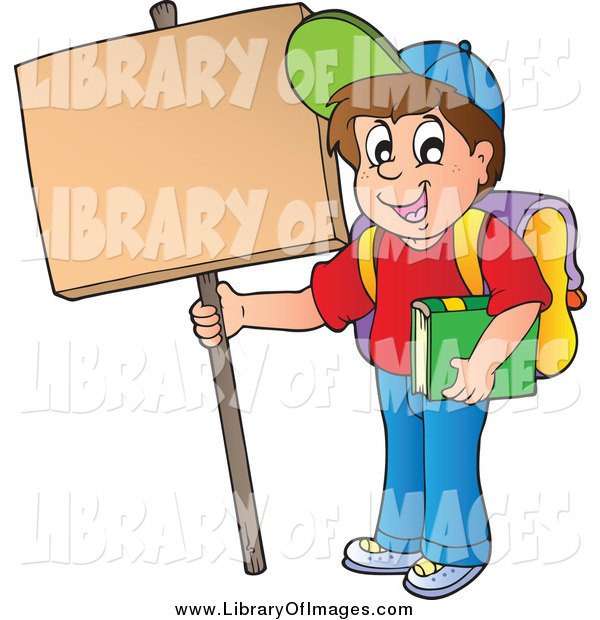 Clip Art of a Happy White School Boy Holding up a Sign