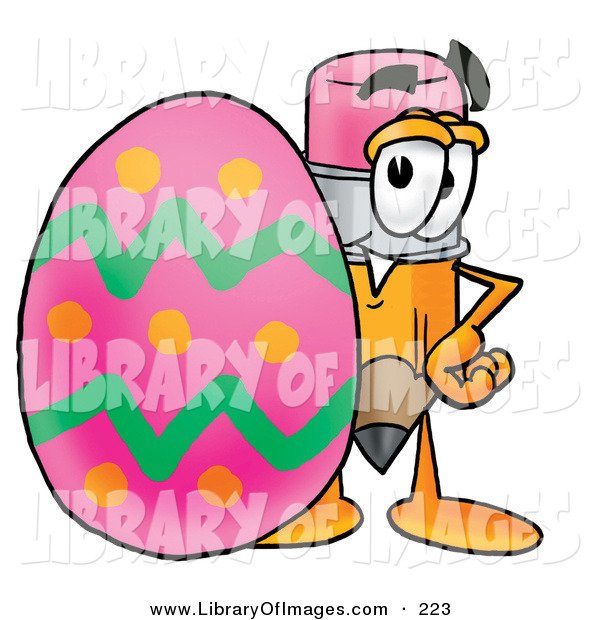 Clip Art of a Happy Yellow Pencil Mascot Cartoon Character Standing Beside an Easter Egg