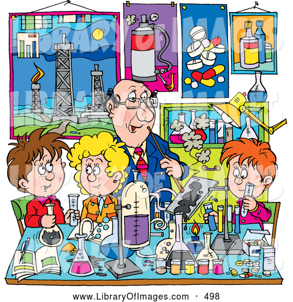 Clip Art of a Helpful Male Teacher Supervising School Boys and Girls in a Science Lab