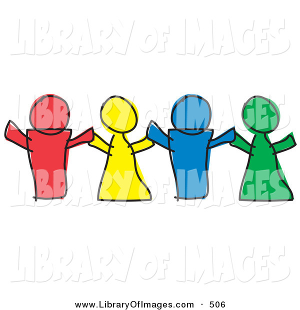 Clip Art of a Line of Three Red, Yellow, Blue and Green Paper Dolls or Children Holding Hands