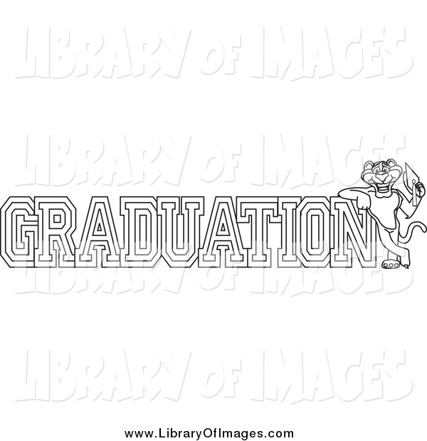 Clip Art of a Lineart Panther Character Mascot with Graduation Text