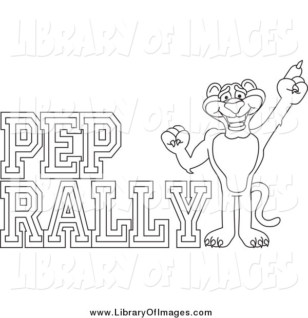 Clip Art of a Lineart Panther Character Mascot with Pep Rally Text
