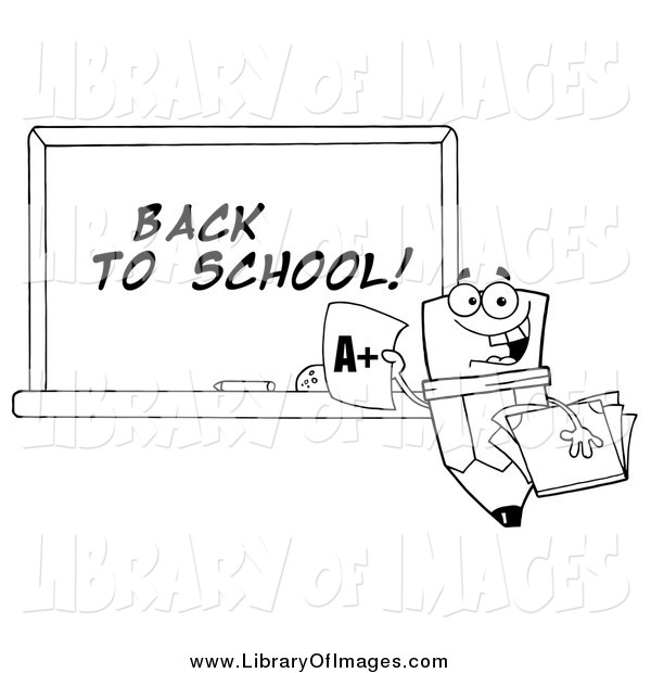 Clip Art of a Lineart Pencil Character and Back to School Chalkboard
