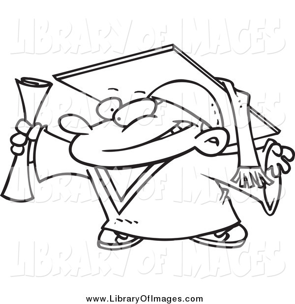 Clip Art of a Lineart Proud Graduate Boy Holding His Certificate