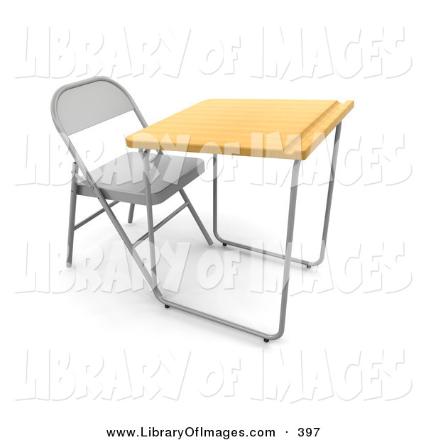 Clip Art of a Lone Student School Desk in a Class Room, with a Metal Chair, Wooden Surface and a Groove for Pencils