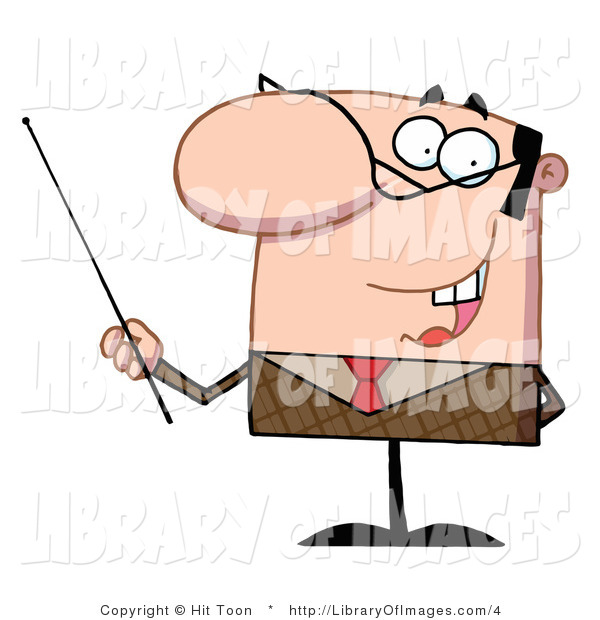 Clip Art of a Male Manager or Professor in a Brown Suit and Red Tie, Gesturing with a Pointer Stick