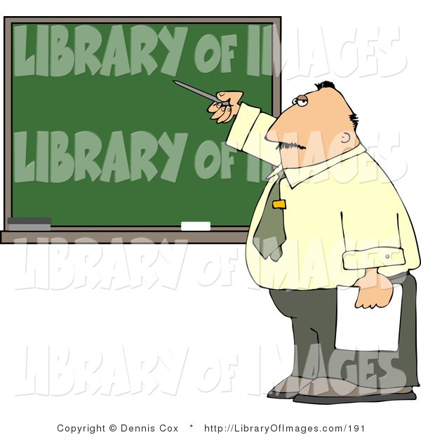 Clip Art of a Male School Teacher Pointing at a Blank Chalkboard During His Lesson