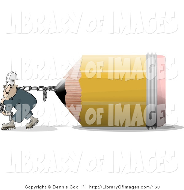 Clip Art of a Man Pulling an Oversized Yellow Pencil