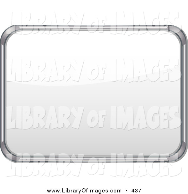 Clip Art of a Metal Frame White Board with Blank Space on White