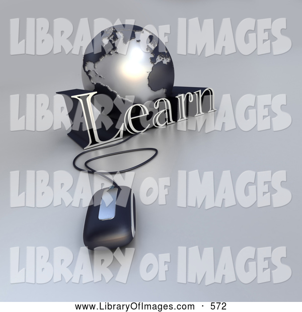 Clip Art of a New 3d Computer Mouse Wired to a Silver Globe and the Word Learn