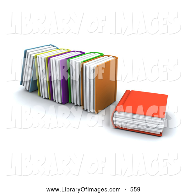 Clip Art of a Orange Library Book Resting Beside Standing Books, on White