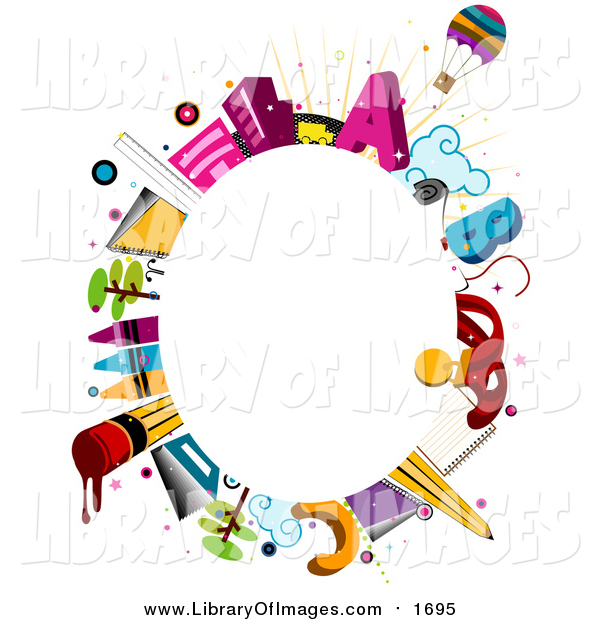 Clip Art of a Oval Frame of School Items Around Copyspace