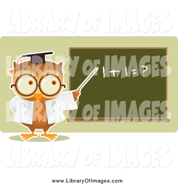 Clip Art of a Owl Professor Teaching Math and Pointing to a Board