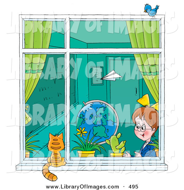 Clip Art of a Paper Plane Flying past a School Girl in a Classroom As She Looks out a Window at a Cat on the Windowsill