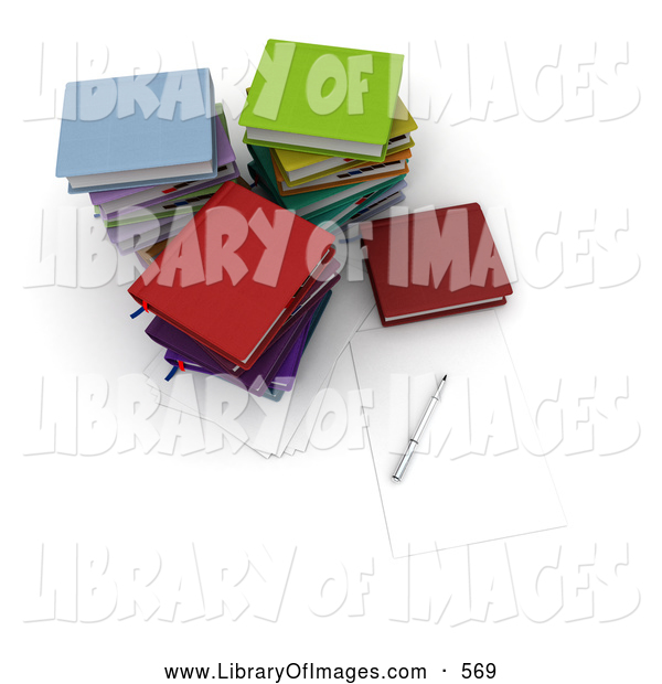 Clip Art of a Pen and Piece of Paper by Stacks of Colorful School or College Books