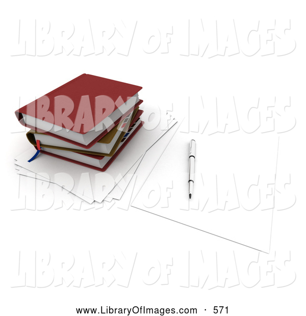 Clip Art of a Pen Resting on a Blank Piece of Paper by a Stack of School or Office Books