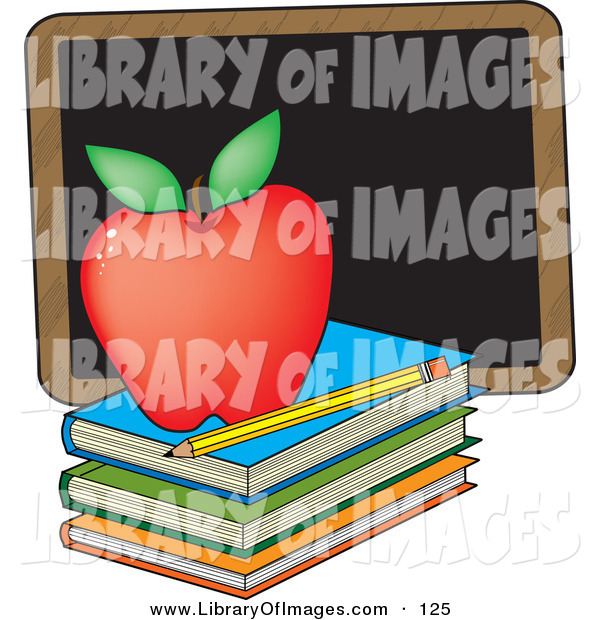 Clip Art of a Perfect Red Apple Sitting on Top of a Stack of School Books near a Pencil and a Black Chalkboard on a Teacher's Desk