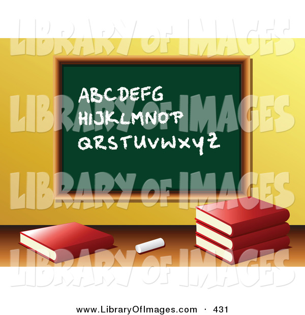 Clip Art of a Piece of Chalk and School Books in Front of a Green Chalkboard with the Alphabet Written on It in a Class Room