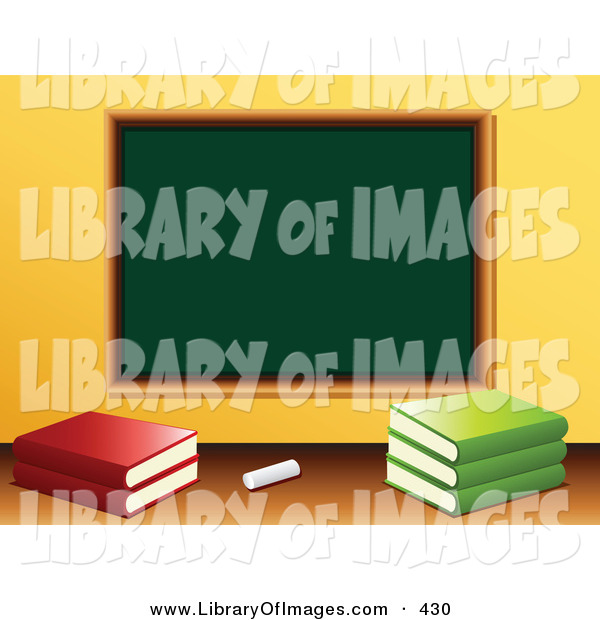 Clip Art of a Piece of White Chalk and School Books in Front of a Blank Green Chalkboard in a Class Room