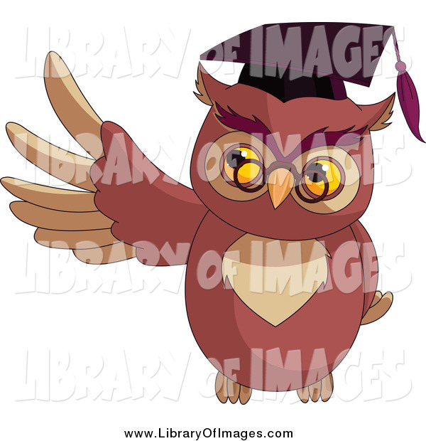 Clip Art of a Presenting Professor Owl Holding up a Wing