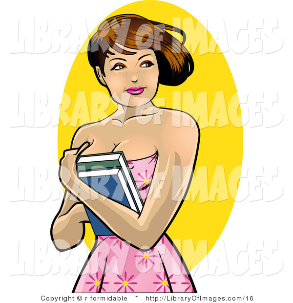 Clip Art of a Pretty Brunette College Girl Holding Her Textbooks to Her Chest