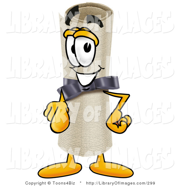 Clip Art of a Proud and Smiling Diploma Mascot Cartoon Character Pointing at the Viewer